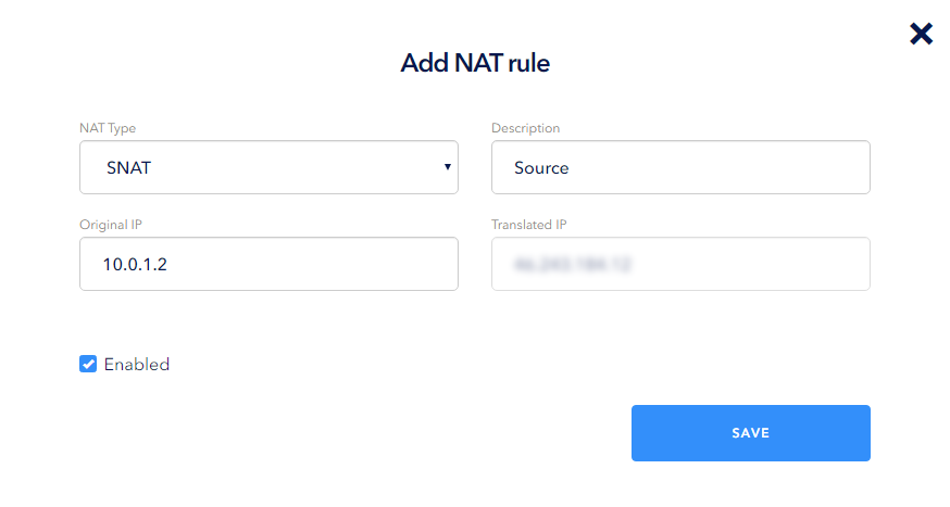 Select SNAT and fill in the following fields