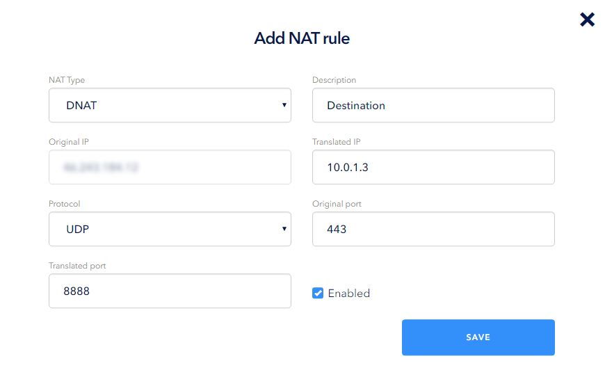 When creating a type rule in the NAT Type drop-down list, select DNAT
