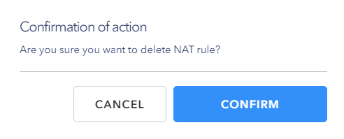 Confirm deleting NAT rules