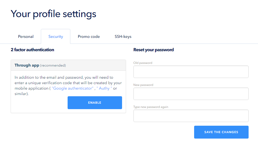 Use the Google Authenticator application for connection to the control panel
