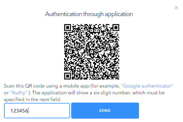 In the application six-digit code will be created