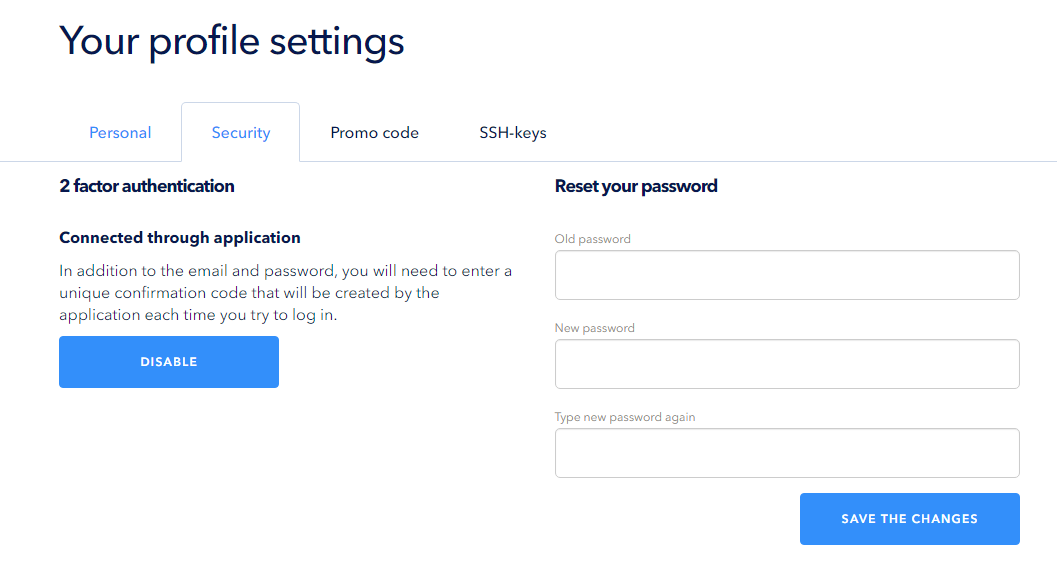 Disabling two-level authentication for the entry to control panel