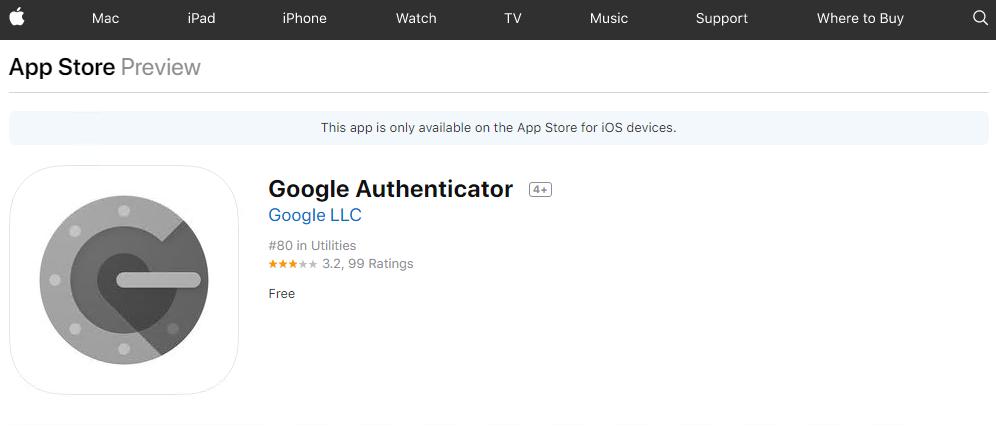 Installation of Google Authenticator on iOS