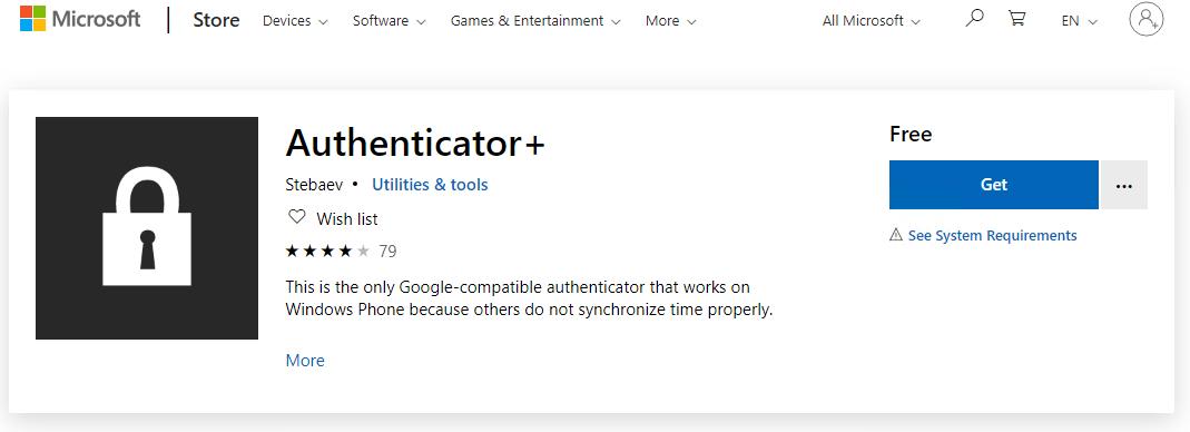 Installation of Google Authenticator on Windows Phone
