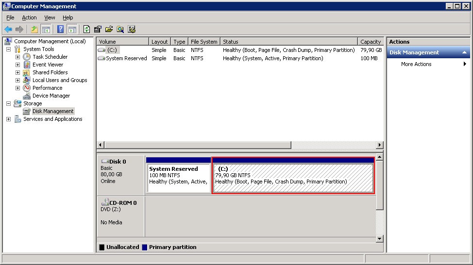 Verify that no unallocated space is shown in Computer Manager