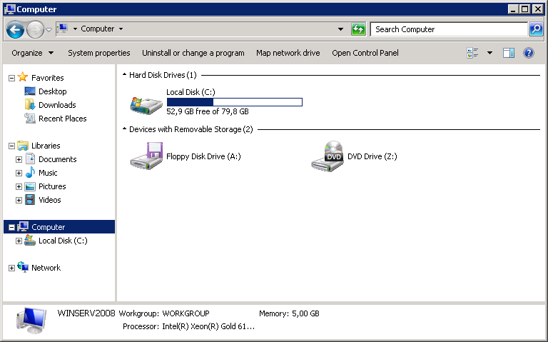 Computer window displays the updated disk size