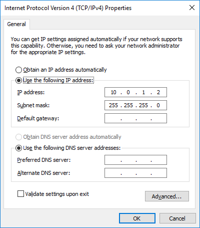 Enter subnet mask in Subnet mask field