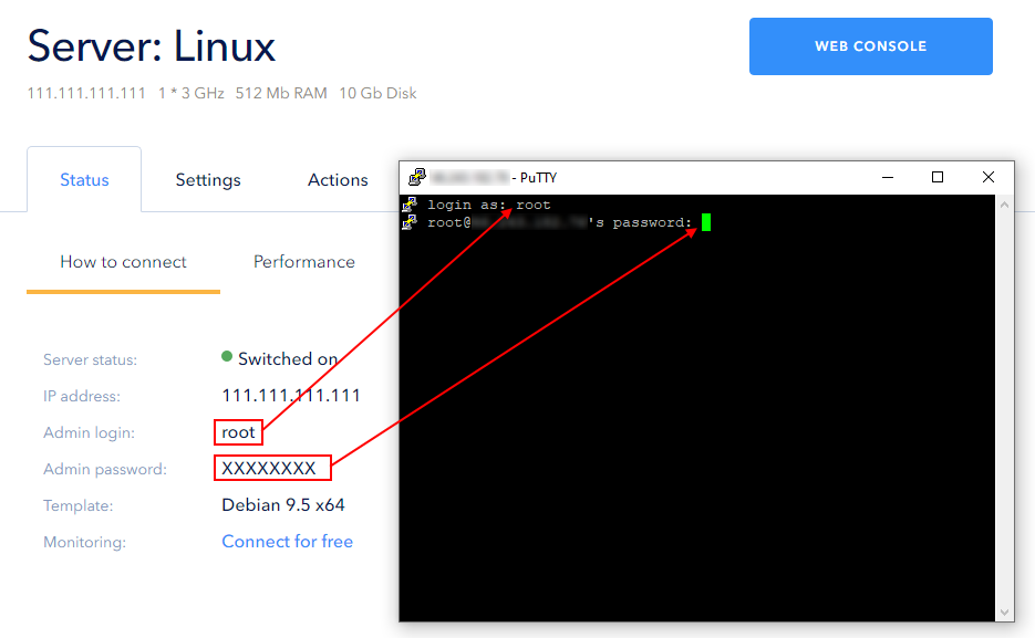 Input Linux server username and password