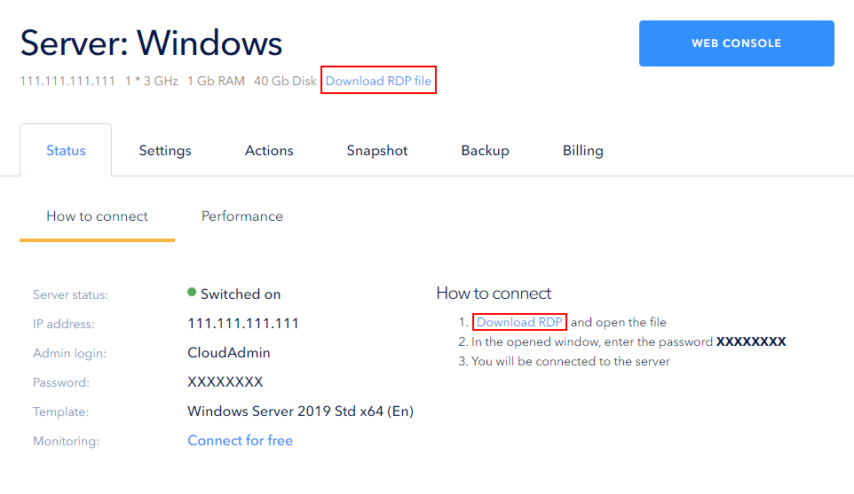 Click Download RDP file and run the downloaded file