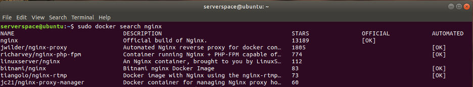 Searching a Docker image