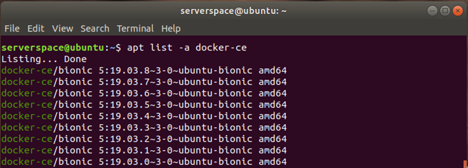 The list of Docker packages is ordered from the latest to the earliest