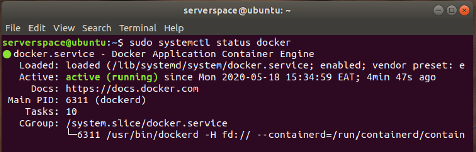 Check the status of Docker