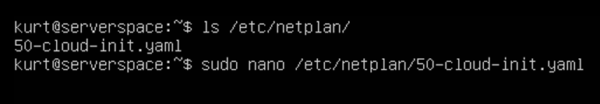Open the netplan configuration file