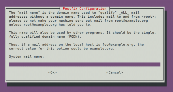 Postfix System mail name configuration