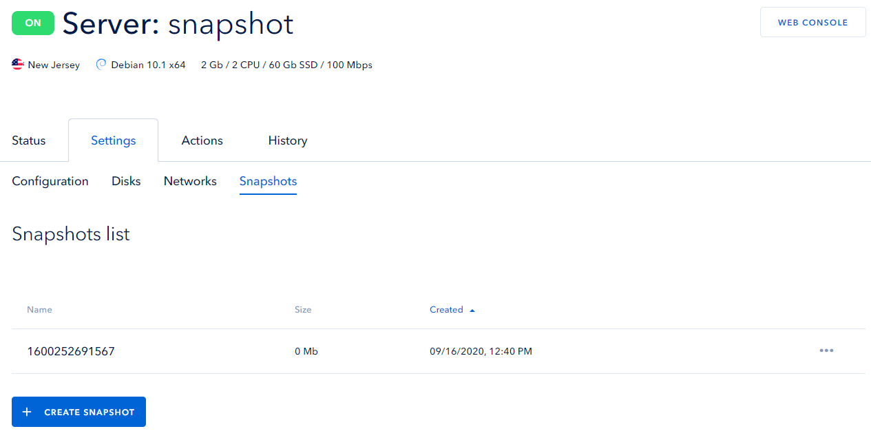 Server snapshot