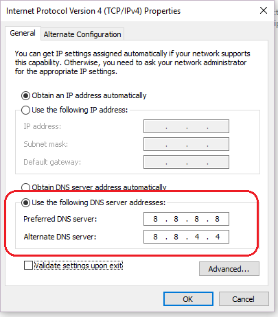 DNS server change