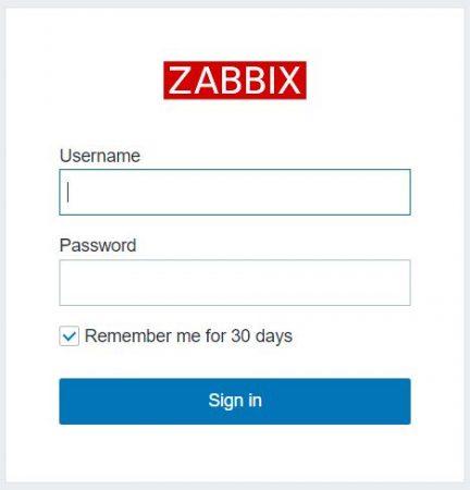 Zabbix login page