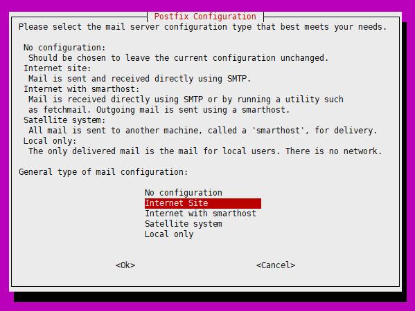 Set mail server configuration type